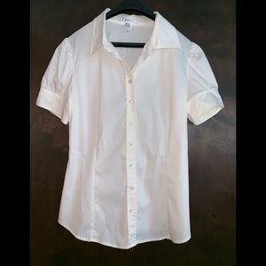 MNG Suit Mango short sleeve blouse Ivory sz 8